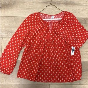 Old Navy Red Flower Womens Peasant Top Sz Med